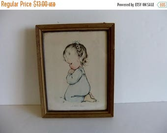 50% off Sale ON SALE Vintage Childs Wall Hanging Little Girl Praying A Child's Prayer Lithograph