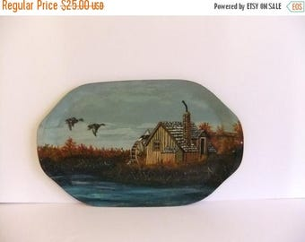 50% off Sale ON SALE hand painted tray Serving Tray Duck Wall Hanging Water Wheel Wood Tray Oval
