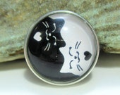Cat yin yang - Black & White - Chunk charms - Fits Ginger Snaps, Magnolia Vine, Noosa - 18-20mm - Snap buttons