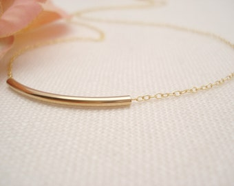 Gold-filled tube bar Necklace...Jewelry for simple everyday, layering, Delicate minimal necklace, wedding, bridesmaid gift