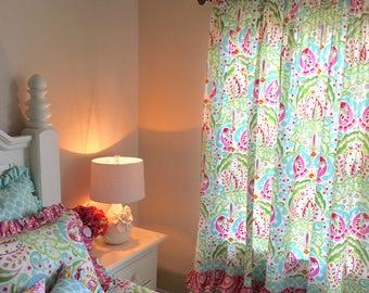 Kumari Teja Curtain Panels, Set of Ruffled Curtain Panels for Girls Room, Girls Ruffled Curtains, Pink Ruffled Curtains