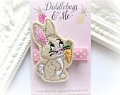 Tan Bunny Hair Clip, Bunny With Carrot Hair Clip, Girls Bunny Hair Clip, Bunny Hair Clips For Girls, Easter Hair Clip, Bunny Clip