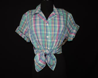 70s does 50s plaid blouse retro rockabilly madras button down plus size XL new old stock