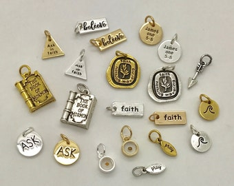 2017 LDS youth theme charms, 2017 mutual theme charms, LDS charms, ask in faith, James 15-6, Ask in Faith, Youth Theme Jewelry, faith charms
