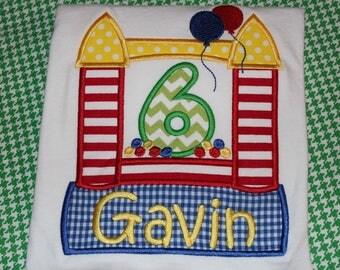 6th birthday Bouncy house birthday tshirt- boy or girl- any number you choose