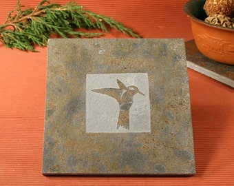 Slate Trivet / Hot Plate - Hummingbird Sandcarved on Copper Slate