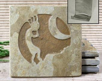 Etched Natural Stone Coaster Set with Holder - Kokopelli 3 on Buff Slate