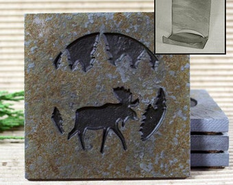 Etched Natural Stone Coaster Set with Holder - Moose in Pine trees on Copper Slate