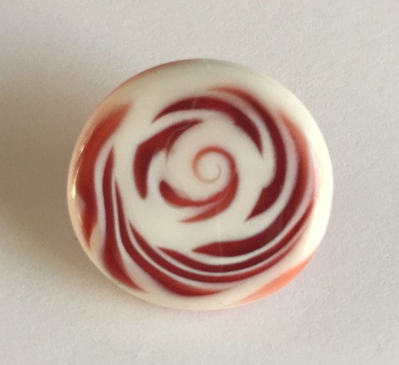 Lampwork Glass Button with Self Shank - Red/White Swirls