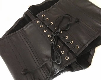 Vintage Vampy Black Leather Lace-up and Zip Waist Cincher - Size M