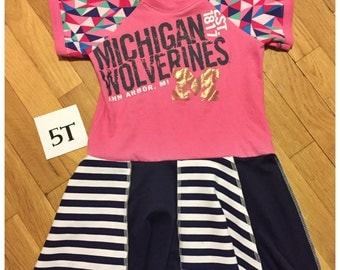 Upcycled University of Michigan Wolverines pink tshirt dress size 5 raglan sleeves striped dress recycled