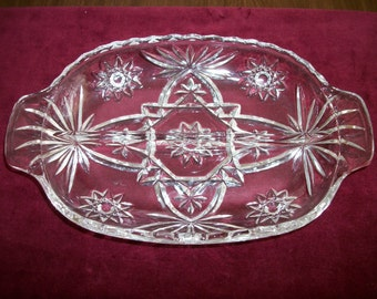 Vintage 80s   Lead Crystal  glass  relish divided tray