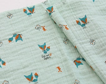 Lovely Fox on Double Gauze Cotton, U336