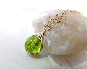 Peridot Necklace, Green Necklace, Gold Necklace, August Birthstone Necklace, Peridot Gemstone Necklace, Wire Wrapped Pendant - Little Green