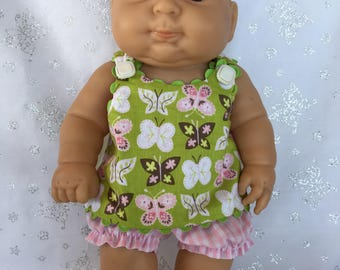 Butterflies and Gingham Dress with Bloomers for 13 inch baby doll like Berenguer