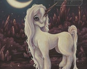 Crystal UNICORN -Lowbrow pop surreal print painting crystals