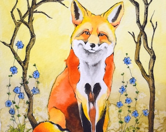 Mr. Fox Archival Watercolor Art print, Nursery art print, 8x10, 11x14.