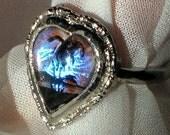Rare Butterfly Wings Vintage Ring Heart Valentines Day Hoffman HTF Mod Genuine Morpho Finger Lucite Tropical Adjustable Mid Century Designer