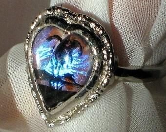 Rare Butterfly Wings Vintage Ring Heart Last One Hoffman HTF Modern Genuine Morpho Finger Lucite Tropical Adjustable Mid Century Designer