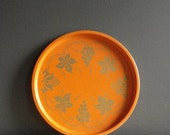 30% off SALE Orange Party - Vintage Metal Orange and Gold Drink Tray - Serving Tray