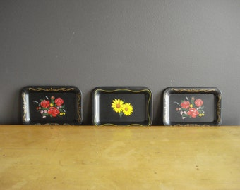 Black Mini Floral Trays - Vintage Metal Trays - Metal Coasters or Organizing Trays