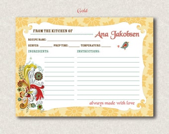 "Personalized Swedish Recipe Cards - (24) 4"" x 6"" or 3"" x 5"" - Dala Horse Recipe Card"