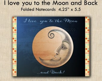 I Love You to the Moon and Back Gift Set - Trinket Dish and Moon Note Cards -SHIPS in TIME for CHRISTMAS