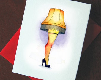 A Christmas Story Greeting Card - The Leg Lamp - Set of 5 Illustrated Note Cards