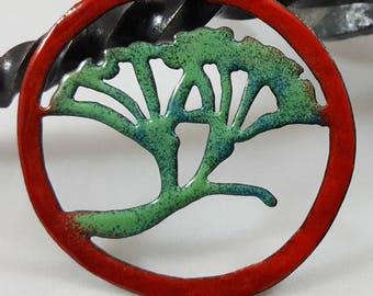Enameled Copper Ginkgo Leaf Pendant
