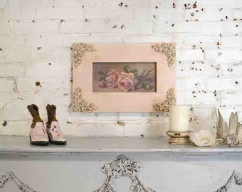 Painted Cottage Chic Shabby Romantic Rose Canvas Print HD126