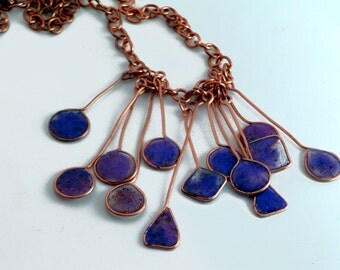 Purple Resin Charm and Copper Necklace Set