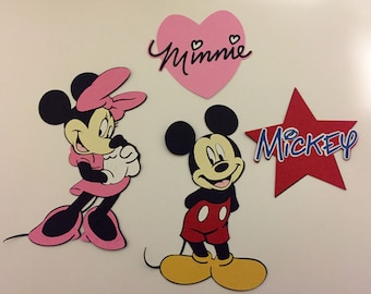 Mickey Mouse and Minnie Mouse die cut