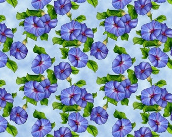 Blank Quilting - Prairie Gate - Morning Glories - Blue - Fabric by the Yard B8579-11
