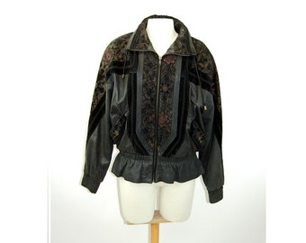 1980s leather jacket bomber jacket embossed floral leather G-III Size M