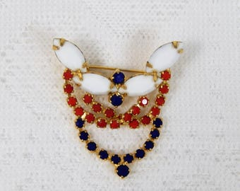 Vintage Patriotic Red White and Blue Brooch--white MIlk Glass and Rhinestones  Free ship in USA