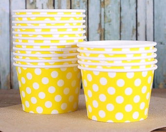 Large Polka Dot Yellow Ice Cream Cups, Yellow Ice Cream Bowls, Sundae Cups, Ice Cream Party Cups, Dessert Cup, 8oz Paper Ice Cream Cups (18)