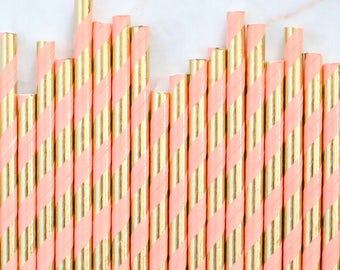 Coral & Gold Foil Paper Straws, Coral and Gold Foil Stripe Paper Straws, Gold Cake Pop Sticks, Pastel Paper Straws, Wedding Paper Straws