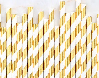 Gold Foil Paper Straws, Gold Foil Stripe Paper Straws, Gold Cake Pop Sticks, Foil Gold Paper Straws, Wedding Paper Straws, Gold Party Straws