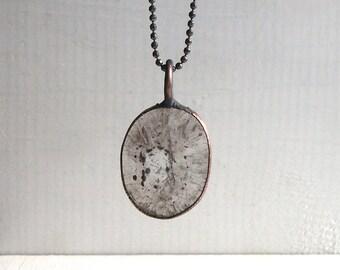 Quartz Pendant Natural Stone Copper Jewelry Rutile Crystal Gemstone Agate Stone Necklace Artisan Handmade