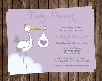 stork baby shower invitations baby girl purple white gray bird