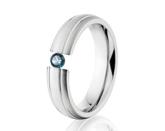 Tension Set Ring, Uniquley You, 5mm,  Titanium Ring, Blue Topaz, 5B1G-XB-Tension