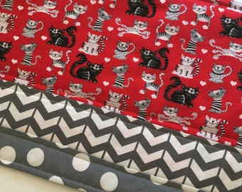 Black Cats on Red Fabric Snack Mat, Cats Mug Rug