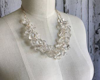 Clear Crystal Chunky Necklace, Statement Necklace, Chunky Necklace, Crystal ACRYLIC, Etsy Wedding Jewelry, Bridal Necklace