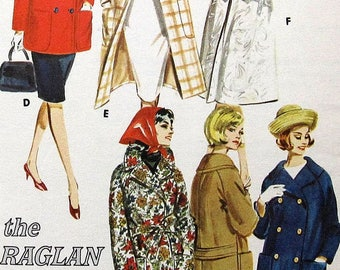 Vintage  Coat Sewing Pattern Butterick 3007 Size 14 raglan