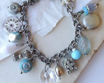 RESERVED FOR RITA - blue and white charm bracelet