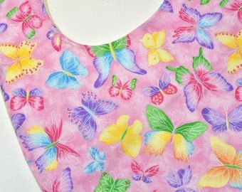 Ladies Adult Bibs Wife Gift, Mothers Day Special Needs Feeding, Butterflys, Clothes protector, Senior Elderly Bib, Teen Women, Nursing Home