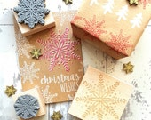 Christmas Scandi Snowflake Rubber Stamp - Stocking Stuffer Filler - Christmas Scrapbooking - Card Making - Snow - Snowy - Winder Stamper