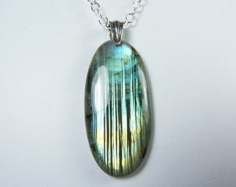 Labradorite Necklace, HUGE Super Flashy Labradorite Pendant Necklace, Glowing Aqua, Turquoise, and Gold Flash, Sterling Silver