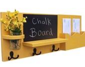 Chalkboard Mail Organizer - Coat Rack - Mail Holder - Letter Holder - Chalk board - Key Hooks - Jar Vase - Organizer - Coat Rack - Wood