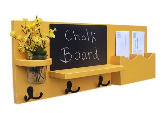 Chalkboard Mail Organizer - Coat Rack - Mail Holder - Letter Holder - Chalk board - Key Hooks - Jar Vase - Organizer - Coat Rack - Wood